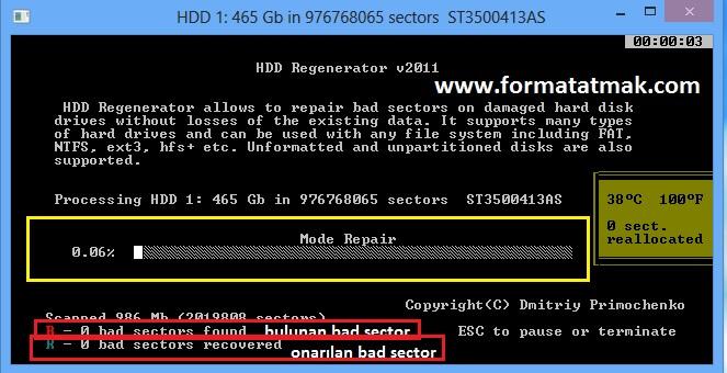 Harddisk Bad Sector Onarma