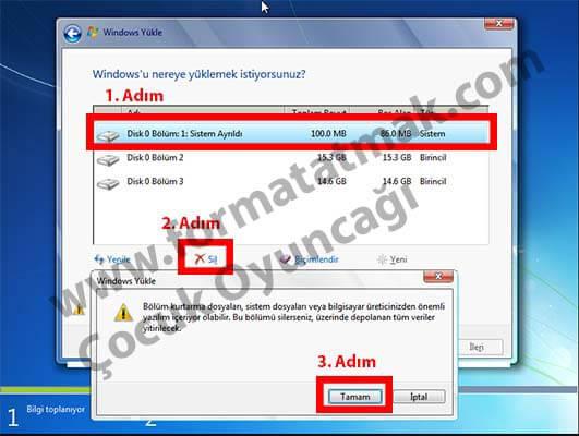 Laptop format atma resimli anlatım (win 7 ve win 8. 1 kurulumu).