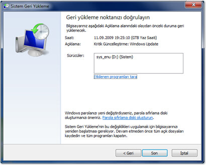 Windows 7 Sistem Geri Yükleme