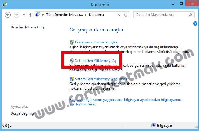 Windows 8.1 Sistem Geri Yükleme