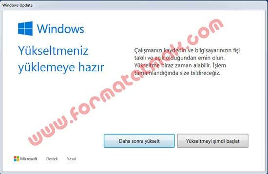 Windows 10 Yükseltme İşlemi