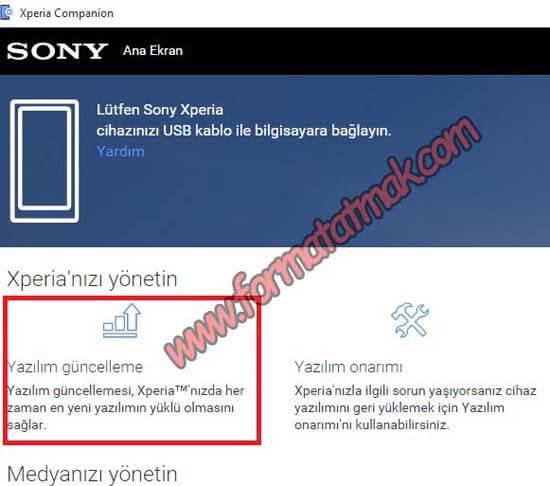 Sony Xperia Telefonlarda Güncelleme