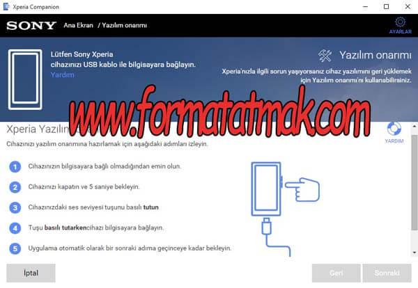 Sony Xperia 10 Format Atma