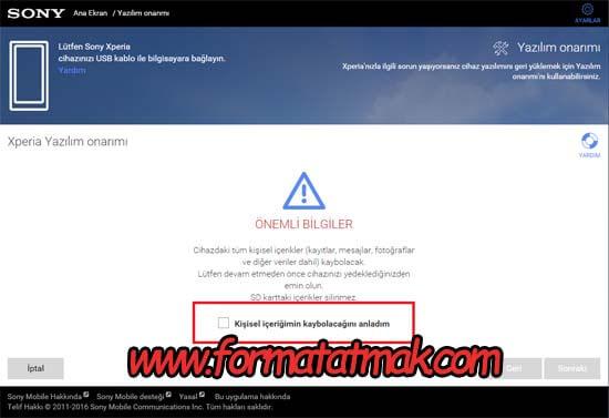 Sony Xperia R1 Plus Format Atma