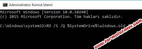 Windows 10 Windows.old Klasörünü Silme
