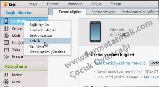 Samsung Galaxy Telefon Yedekleme