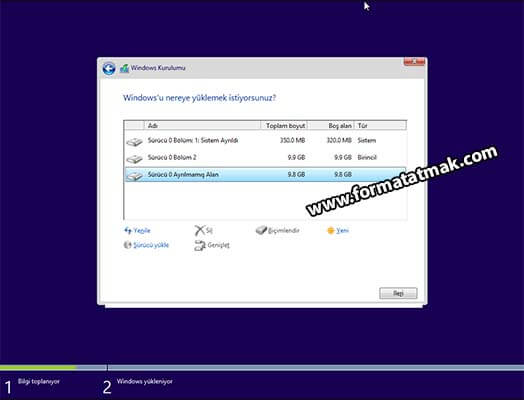 Windows 10 Disk Bölümlendirme