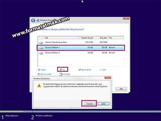 Windows 10 Format Atma Disk Silme