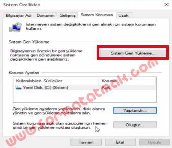 Windows 10 Sistem Geri Yükleme