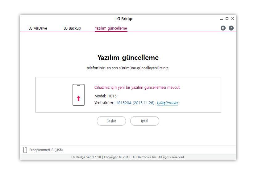 LG Android Telefonlarda Güncelleme